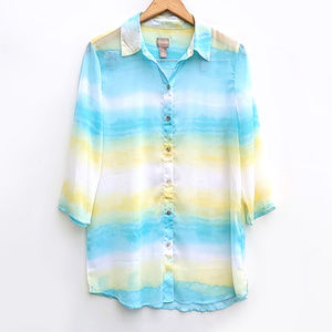 Chico's Ombre Gradient Sheer Button Down Top